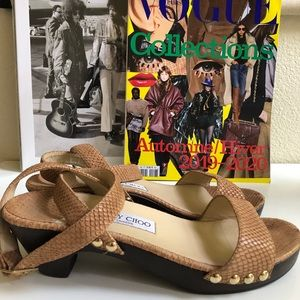 Jimmy Choo Snakeskin Studded Wedge Wooden Sandals